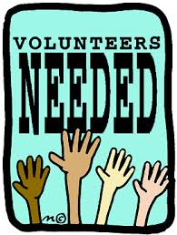 Volunteers needed with hands in the air