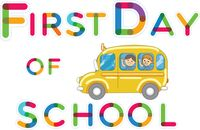 First day of school sign with bus