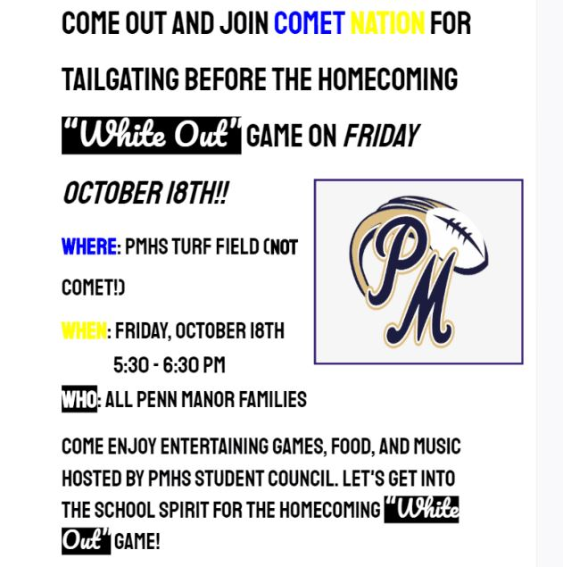 """Homecoming """"White Out"""" game on Friday, October 18th"""